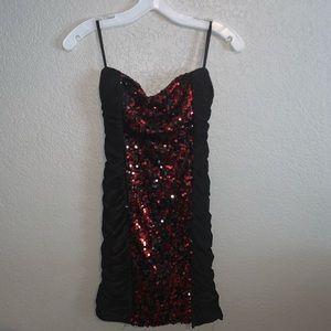 Strapless sequin mini dress